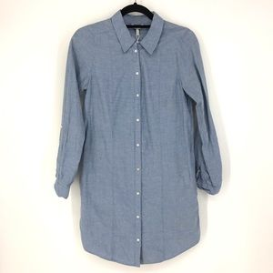 Joie Sz XS Button Front Shirt Dress Chambray Blue